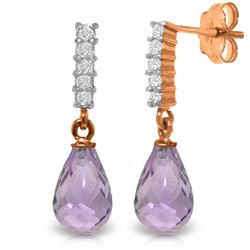 Genuine 4.65 ctw Amethyst & Diamond Earrings Jewelry 14KT Rose Gold - REF-36T2A
