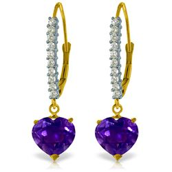 Genuine 3.55 ctw Amethyst & Diamond Earrings Jewelry 14KT Yellow Gold - REF-62H2X
