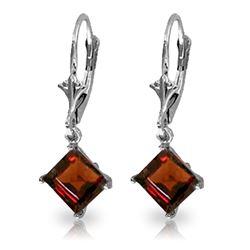 Genuine 3.2 ctw Garnet Earrings Jewelry 14KT White Gold - REF-30X2M