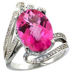 Natural 5.76 ctw pink-topaz & Diamond Engagement Ring 14K White Gold - REF-92Z7Y