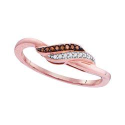 0.05 CTW Red Color Diamond Slender Crossover Ring 10KT Rose Gold - REF-10H5M