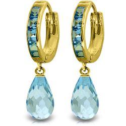 Genuine 5.35 ctw Blue Topaz Earrings Jewelry 14KT Yellow Gold - REF-43N6R