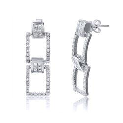 2.06 CTW Diamond Earrings 18K White Gold - REF-232K6W
