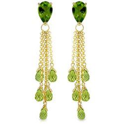 Genuine 15.5 ctw Peridot Earrings Jewelry 14KT Yellow Gold - REF-51V8W