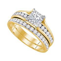1 CTW Princess Diamond Bridal Engagement Ring 14KT Yellow Gold - REF-127N4F