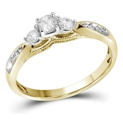 0.38 CTW Diamond 3-stone Bridal Engagement Ring 10KT Yellow Gold - REF-40N4F