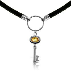 Genuine 0.50 ctw Citrine Necklace Jewelry 14KT White Gold - REF-65H8X