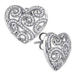 0.50 CTW Pave-set Diamond Hearts Screwback Stud Earrings 10KT White Gold - REF-37N5F