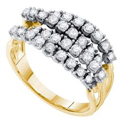 0.49 CTW Diamond Four Row Strand Ring 14KT Yellow Gold - REF-52F4N