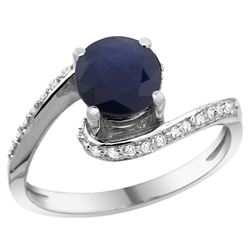 Natural 1.29 ctw blue-sapphire & Diamond Engagement Ring 10K White Gold - REF-83Z3Y