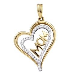 0.21 CTW Diamond Mom Mother Heart Pendant 10KT Yellow Gold - REF-22F4N