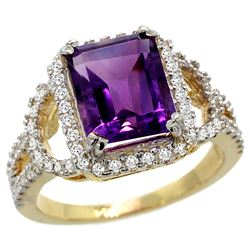 Natural 3.08 ctw amethyst & Diamond Engagement Ring 14K Yellow Gold - REF-106V3F
