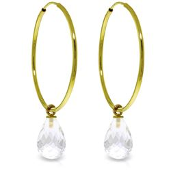 Genuine 4.5 ctw White Topaz Earrings Jewelry 14KT Yellow Gold - REF-26Z2N
