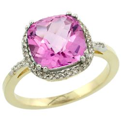 Natural 4.11 ctw Pink-topaz & Diamond Engagement Ring 10K Yellow Gold - REF-34W3K