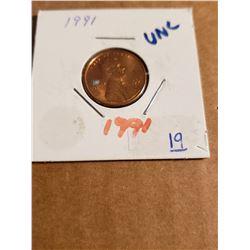 1991 Lincoln Penny UNC