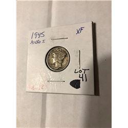 Rare 1945 MICRO S Mercury Silver Dime Extra Fine High Grade