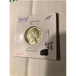 1943 P Silver WWII Nickel in Extra Fine High Grade