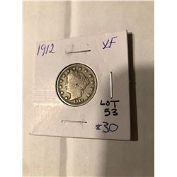 1912 Liberty Head V Nickel FULL LIBERTY in Extra Fine Grade