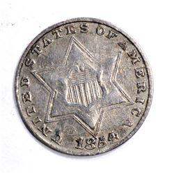 1854 3-CENT SILVER, AU NICE