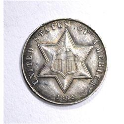 1862 THREE CENT SILVER  AU
