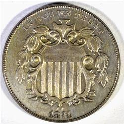 1874 SHIELD NICKEL, CH BU