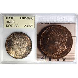 1878-S MORGAN DOLLAR, ACG GRADED A3-GEM BU
