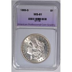 1889-S MORGAN DOLLAR, APCG UNCIRCULATED