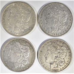LOT OF 4 MORGAN DOLLARS:  1889-O VF,