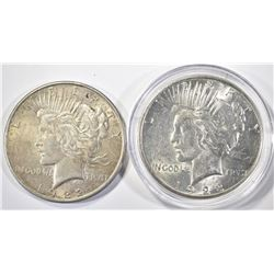 1923-S CH BU & 1922 AVE CIRC PEACE DOLLARS