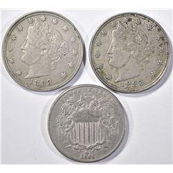 (2) 1883 NO CENTS LIBERTY HEAD NICKEL XF & AU,