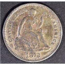 1872 SEATED LIBERTY HALF DIME  XF/AU