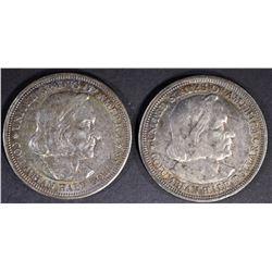 2-1893 COLUMBIAN HALF DOLLARS, AU/BU