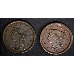 1842 & 1847 VF LARGE CENTS