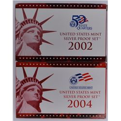 2002 & 04 U.S. SILVER PROOF SETS IN ORIG PACKAGING