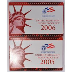 2005 & 06 U.S.SILVER PROOF SETS IN ORIG PACKAGING