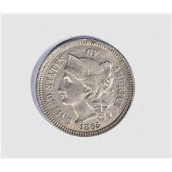 1865 3-CENT NICKEL, CH BU