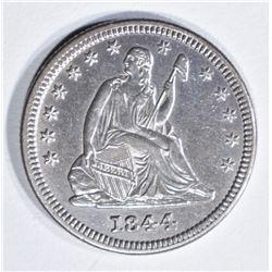 1844 SEATED LIBERTY QUARTER AU/BU