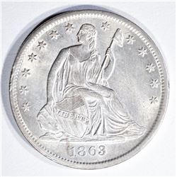 1863-S SEATED LIBERTY HALF BU OLD CLEANING