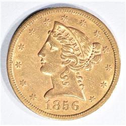 1856-S $5 GOLD LIBERTY AU/BU