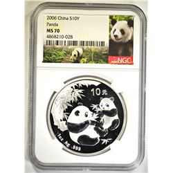 2006 ONE OUNCE SILVER CHINA PANDA, NGC MS-70
