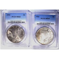 (2) 1923 PEACE SILVER DOLLARS, PCGS MS-64