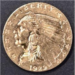 1929 $2.5 GOLD INDIAN CH/GEM BU