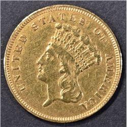 1857-S GOLD 3 DOLLAR AU