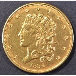 1834 PLAIN 4 $5 CLASSIC HEAD GOLD CH BU