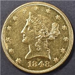 1848 GOLD 10 DOLLAR LIBERTY HEAD CH BU