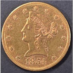 1854-S GOLD $10 DOLLAR LIBERTY BU