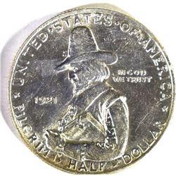 1921 PILGRIM COMMEM HALF DOLLAR, CH BU+