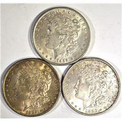 1-1886 & 2-1889 CH BU MORGAN DOLLARS, CH BU