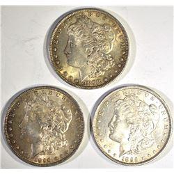 2-1896 & 1-1898 CH BU MORGAN DOLLARS