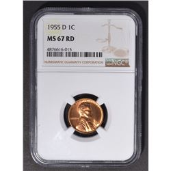 1955-D LINCOLN CENT, NGC MS-67 RED